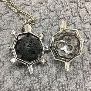 Essential oil infused lava rock turtle necklace